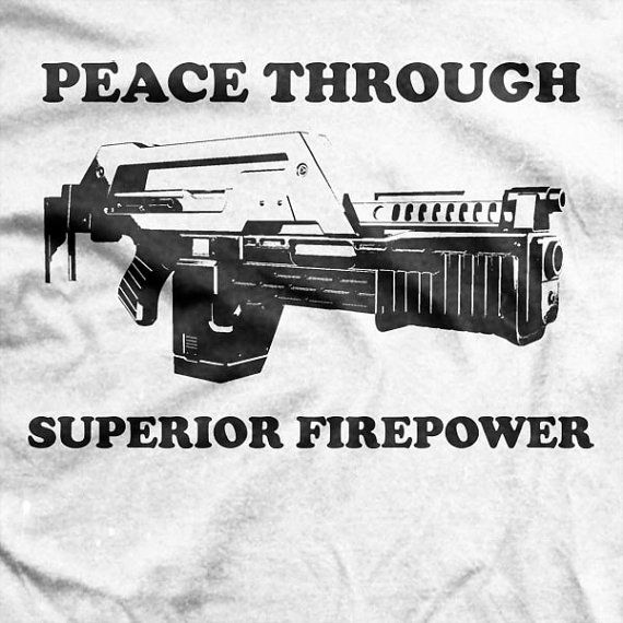 Aliens Movie - Colonial Marines Cpl Hicks Peace Through Superior Firepower T-shirt on Etsy, $18.65