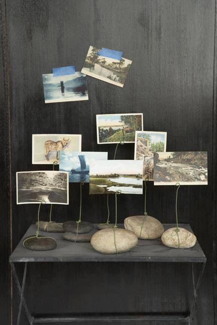 decoracion de fotos con mecate y piedras