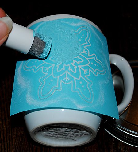 DIY - Painted Snowflake Mugs - Repurposed - The Graphics Fairy