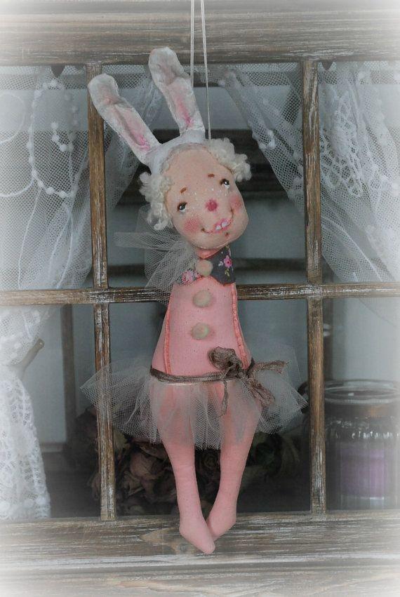 Handmade Primitive Rabbit Bunny DOLL * Balerina * Tutu * Vintage Style * Fabric Art * Folk Art Primitive * OOAK  by Natali Sekreta