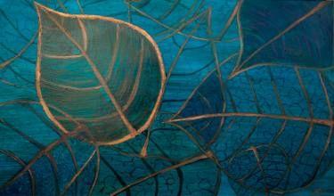 """Saatchi Art Artist Andreea Oprisan; Painting, """"Blue Leaves"""" #art #painting #nature"""