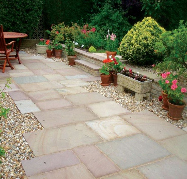 this riven natural sandstone paving has the beauty of real stone to add timelessly appeal for