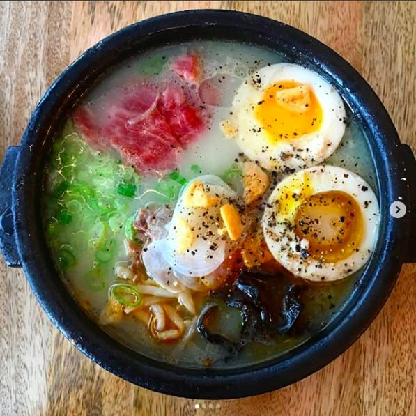 Ramyun, the Korean version of ramen, should be on your radar. This version from newcomer JeJu Noodle Bar is made with veal broth, brisket, scallion, pickled garlic, and garlic oil. @ Jeju Noodle Bar