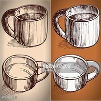 Kroki tarzı çizim kahve bardağı seti