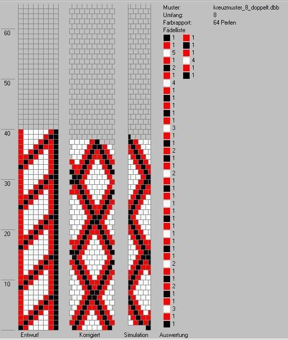 Schlauchketten häkeln - Musterbibliothek: kreuzmuster_8_doppelt