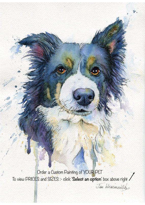 Custom pet portrait Custom dog portrait by PetArtGallery on Etsy