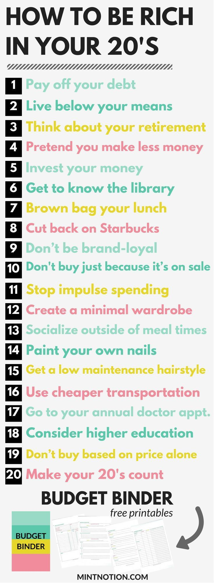 How to be rich in you 20s. Build wealth and save money this year.
