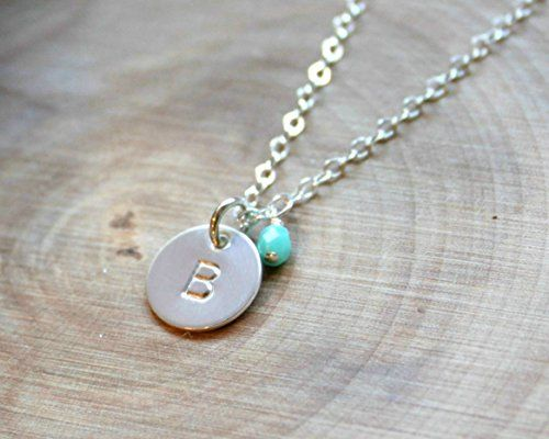 Initial Necklace Personalized Monogram Letter A Small Disc Charm STERLING SILVER
