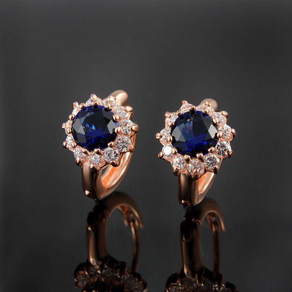 Благородный изысканный реального 18 К роуз темно-синий имитация серьги с бриллиантами гарантия качества