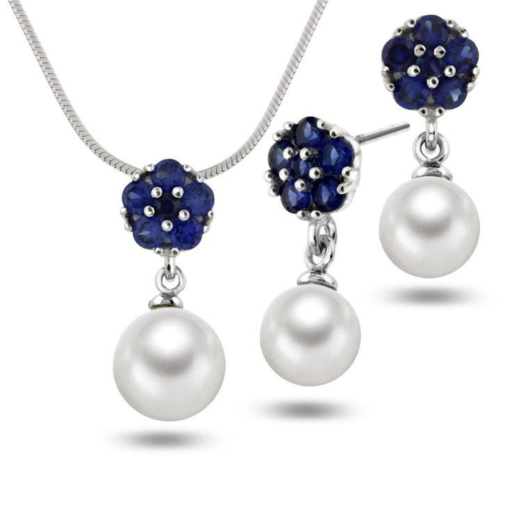 """Perle og """"something blue"""" sammen <3 Smykke og ørepynt i sølv med glass og perle"""