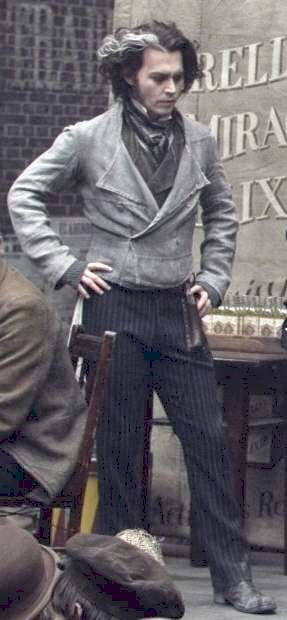 Johnny Depp on the set of Sweeney Todd