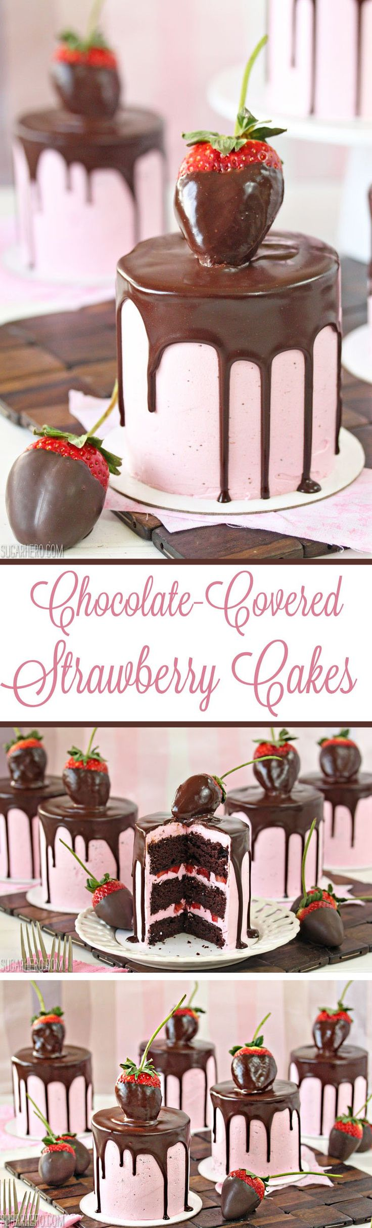 Chocolate-Covered Strawberry Cakes - sweet mini chocolate cakes with fresh strawberry buttercream. Beautiful and romantic!   From SugarHero.com