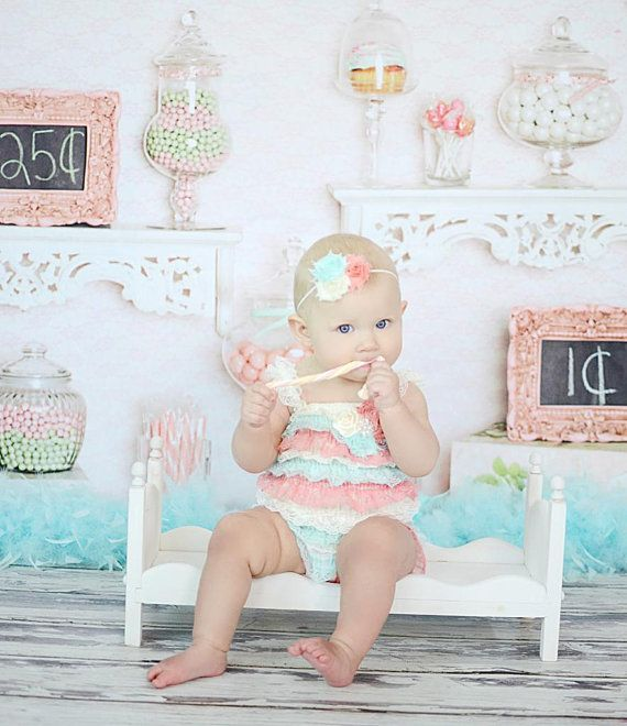 Petti Romper Headband SET  Coral Mint Ivory door BabyBloomzBoutique