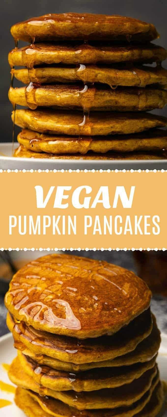 These vegan pumpkin pancakes are so fluffy! They have all the delicious spicy fall flavors and make the perfect breakfast. #vegan #veganbreakfast #veg...