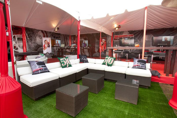 Inspired by the Rose Bowl, the pillows in the lounge area depicted different aspects of the game with three different...