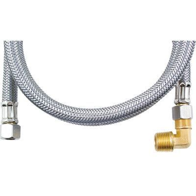 Certified Appliances 4' Braided Stainless Steel Dishwasher Hose with Elbow