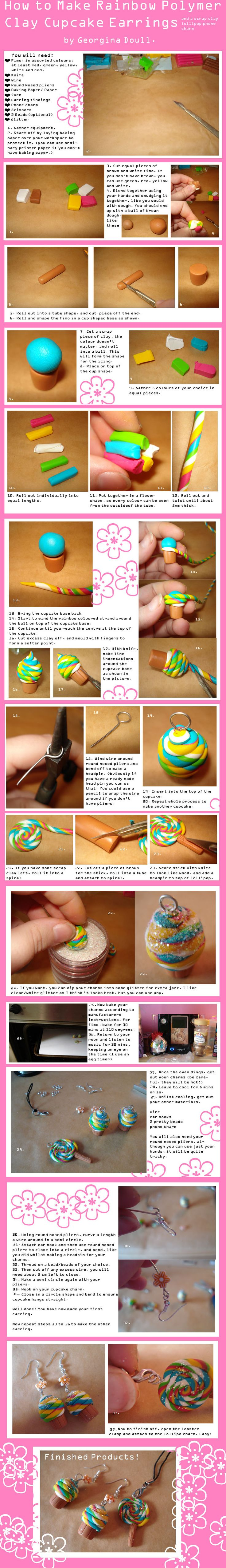 How to make Cupcake Earrings-tutorial - POTTERY, CERAMICS, POLYMER CLAY
