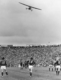At Eden Park a man name Marx Jones flew over Eden Park in Auckland during the final game and dropped flour bombs from his plane.
