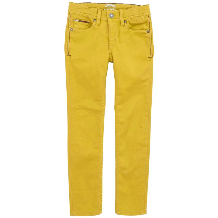 Saffron yellow trousers made of stretch gabardine. Regular fit. Zip fly. Adjustable waistband with an inner buttoned elastic strap. Five pockets with rivets. Leather logo patch. - 74,90 €