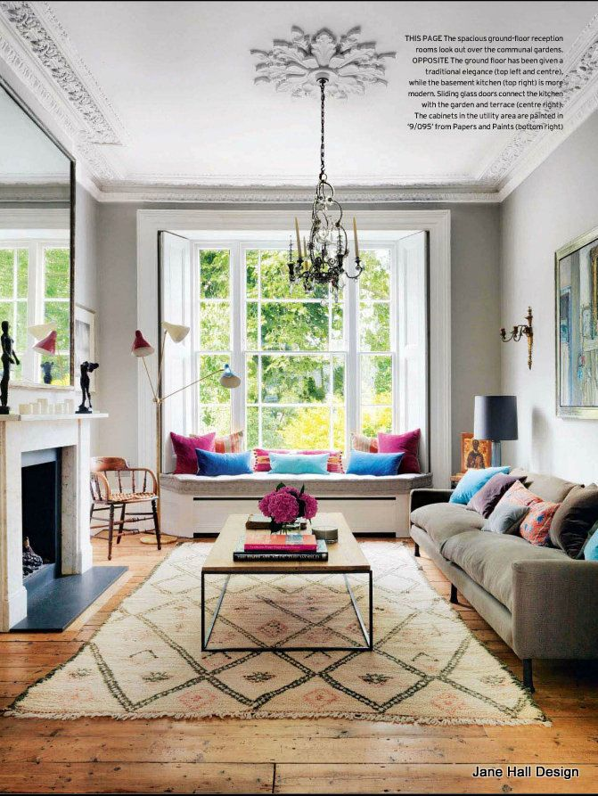 This London townhouse shows a look I love. The combination of antiques using modern colors and fabrics. This is one of my favorite cities to be inspired by. I use fabrics imported from many famous design houses, including Designers Guild, Osborne and Little and Jane Churchill.