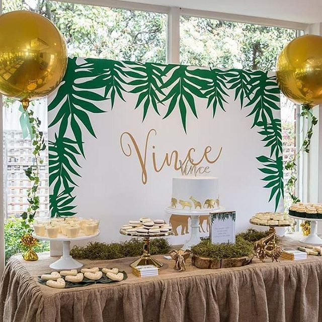 @thesugartoppedtable has done it again with another outstanding event.  Golden safari christening featuring our gold orbz with ivy garland