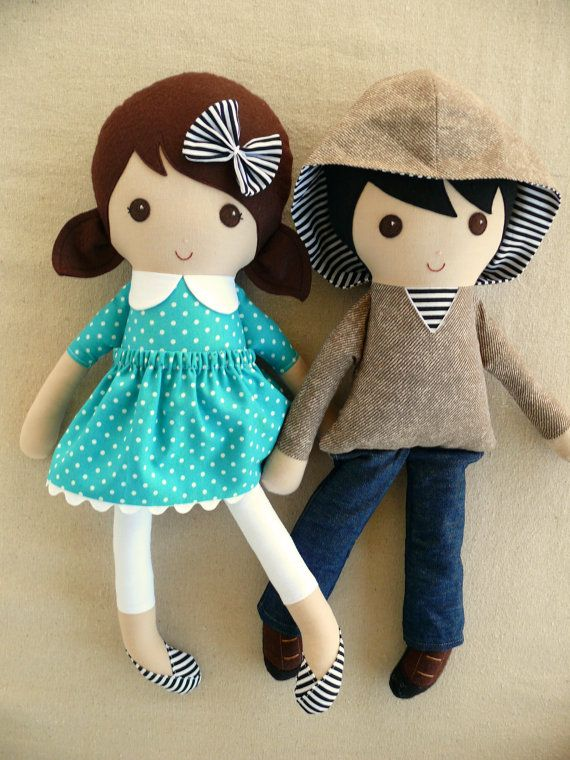 Reserved for Lily - Fabric Dolls Rag Dolls Boy and Girl Dolls Couple Dolls