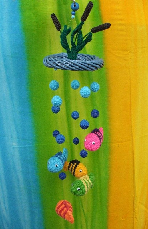 Crochet baby mobile with fish and lake - colorful decor