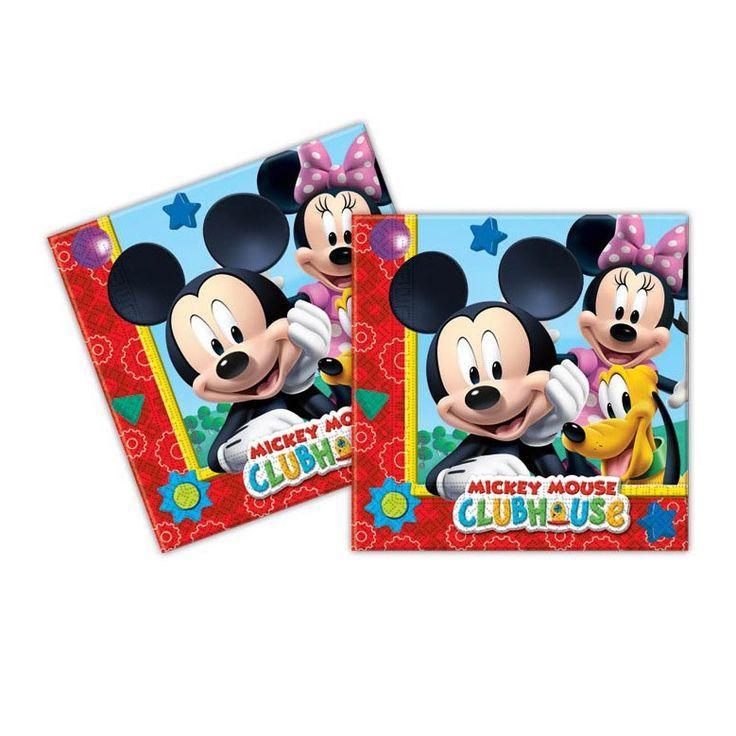 Vrolijke servetten van Mickey Mouse. Ideaal voor op tafel tijdens het kinderfeestje. Per set: 20 stks. Afmeting: 33 x 33 cm - Servetten Mickey Mouse, 20st.