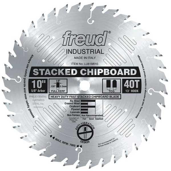 Freud 10 Full Kerf Heavy Duty Stacked Chipboard Blade Table Saw Blades Sliding Compound Miter Saw Circular Saw Blades