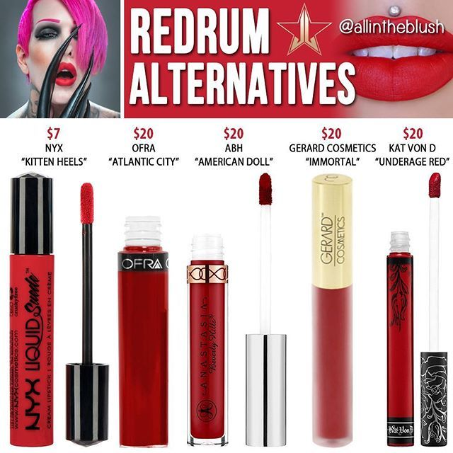 Dupes for Jeffree Star's Redrum lipstick @allintheblush