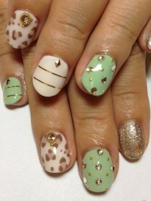 Cream, mint, and gold with studs