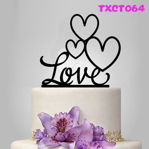 Free Shipping Sweet Love Heart Shape Cake Topper Black Acrylic Engagement Cake Topper Wedding Gifts Cake Topper Decoration