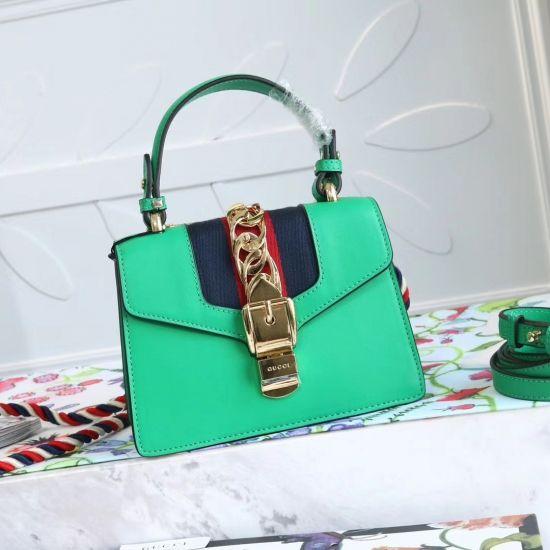 c8c3f8c9fde 2019 的 Gucci GG Sylvie leather mini bag Tote Handbag 470270 Green ...