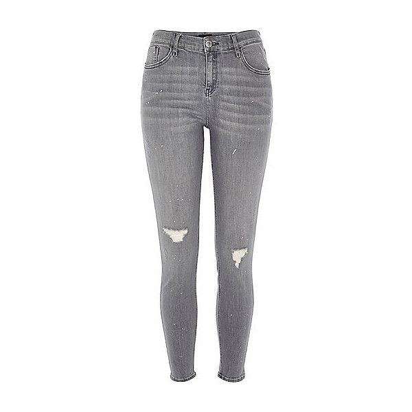 Amelie grijze ripped superskinny jeans (€55) ❤ liked on Polyvore featuring jeans, zipper skinny jeans, torn skinny jeans, ripped skinny jeans, ripped denim jeans and destroyed jeans