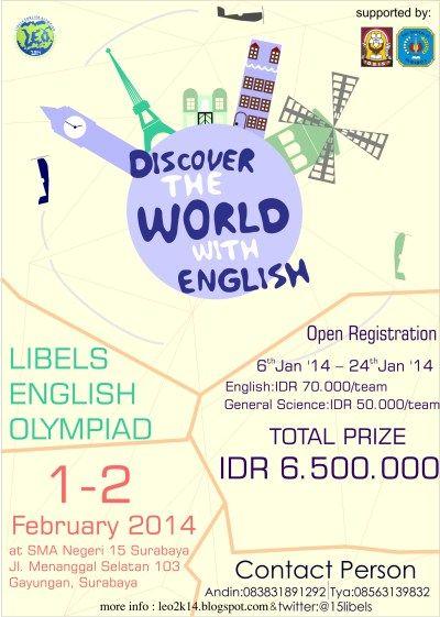 "AYO BURUAN DAFTAR, HARI INI TERAKHIR DAFTAR ! Libels English Olympiad ""Discover The World with English"" by @15libels"