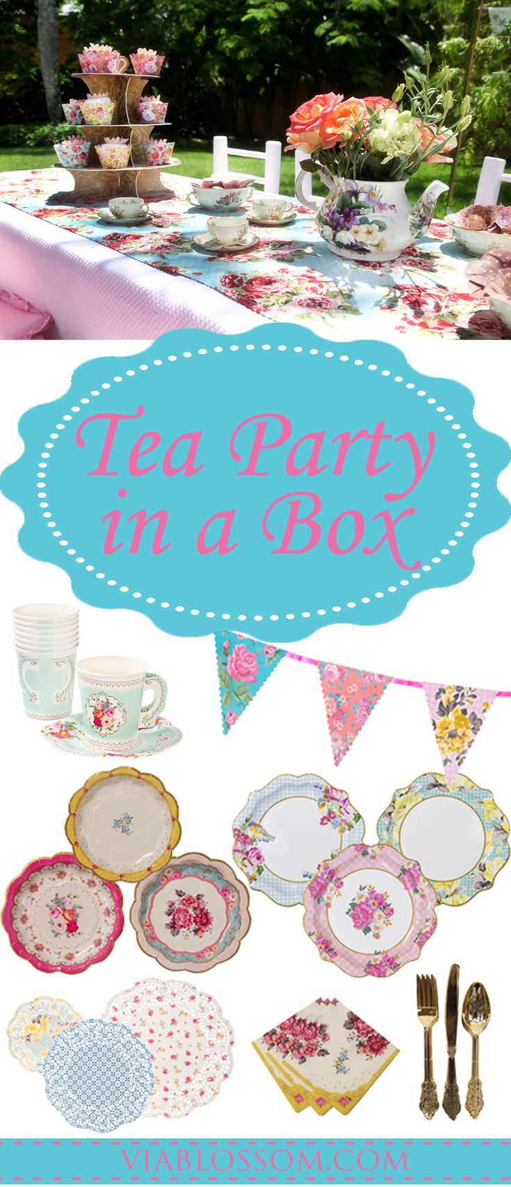 A Tea Party for 12 guests with our Tea Party in a Box! In this party pack we have included our favorite Tea Party Supplies for easy shopping at a lower cost!  #teapartyideas #teapartysupplies #teapartybirthday #madhatterpartyideas