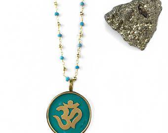 Om Pendant - Om Necklace - Yoga Necklace - Beaded Necklace - Buddha Necklace - Yoga Jewelry - Turquoise Necklace - Turquoise Gemstone