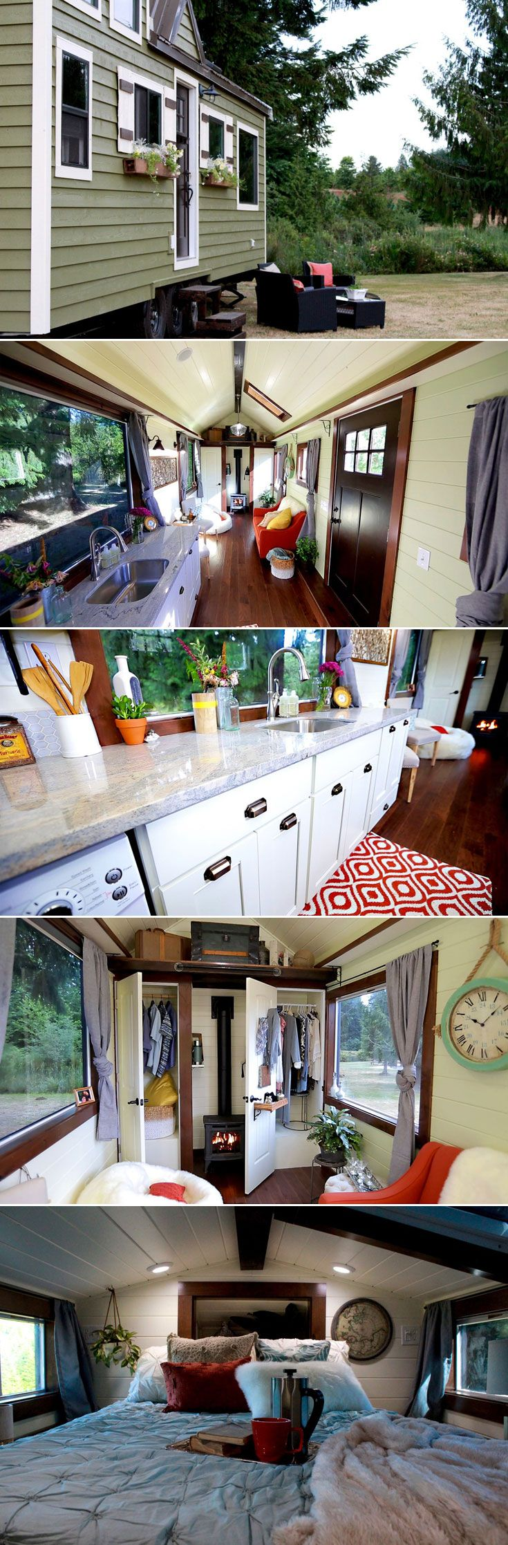 Created by Tiny Heirloom, the builders behind HGTV's Tiny Luxury.  This tiny home's interior features a bright kitchen with white cabinets and a light granite countertop, a living room with two closets and fireplace, a loft bedroom, and a bathroom with a small clawfoot tub!