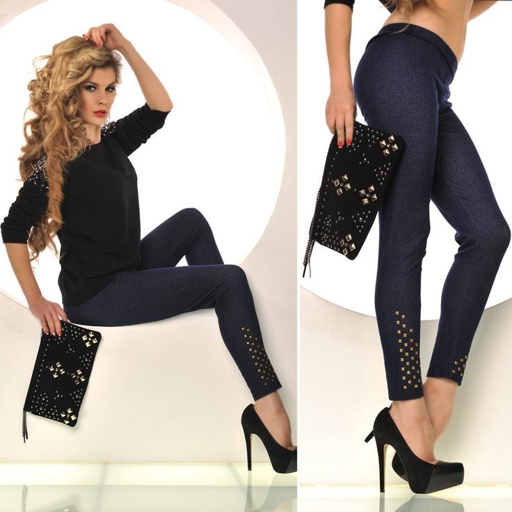 legging femme bleu brut effet jean en coton fashion et. Black Bedroom Furniture Sets. Home Design Ideas