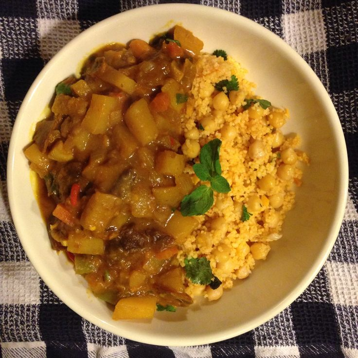 Heavenly Vegetarian Tagine with Preserved Lemon,  Sprouted Chickpeas and Couscous