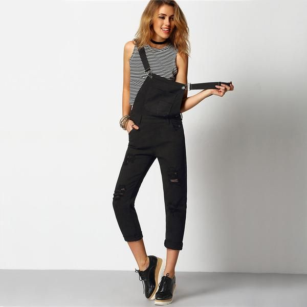 Black Strap Ripped Pockets Full Length Denim Jeans Jumpsuit