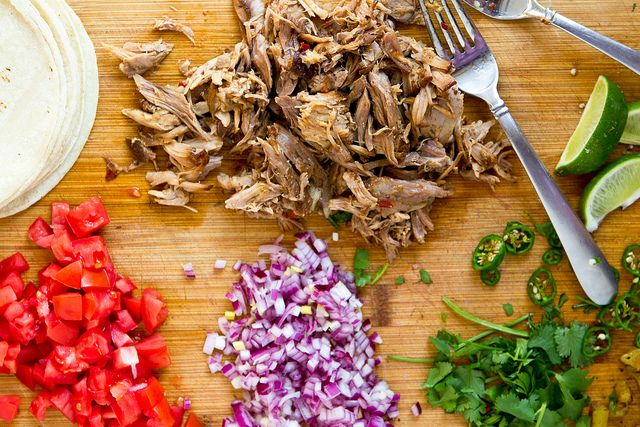 Shredded Pork Tacos (Crockpot) by foodiebride, via Flickr--Next time I would do this with a pork loin.  The pork shoulder is a little too fatty for my liking.