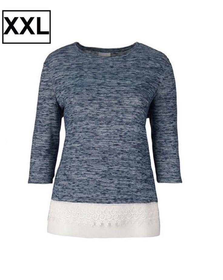 New Look Curve - T-shirt Maglietta Donna con orlo in pizzo taglie Forti
