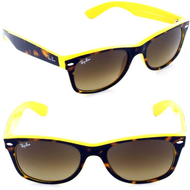 Ray-Ban RB 2132 6014/85 New Wayfarer Top Havana on Yellow / Brown