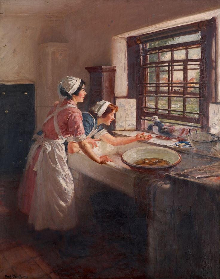 Frederick William Elwell - Maids with Pigeons. 1918.