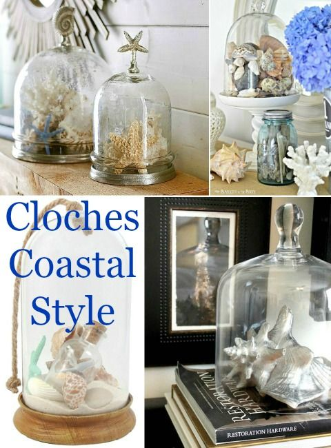 Glass Cloche Decor Ideas for Beach your Beach Treasures. Shop glass cloches & get inspiration here: http://www.completely-coastal.com/2016/03/glass-cloche-decor-ideas.html
