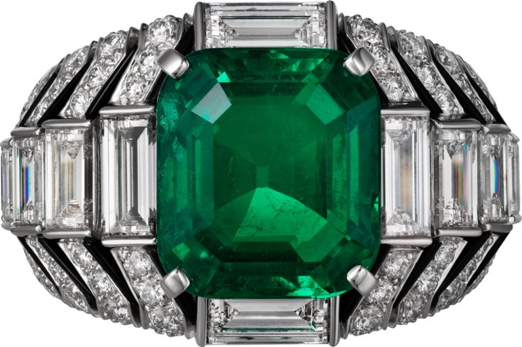 "CARTIER. ""Oracle"" Ring - platinum, one 6.53-carat rectangular-shaped round-cornered step-cut emerald from Colombia, onyx, baguette-cut diamonds, brilliant-cut diamonds. #Cartier #CartierMagicien #HauteJoaillerie #FineJewelry #Diamond #Emerald"
