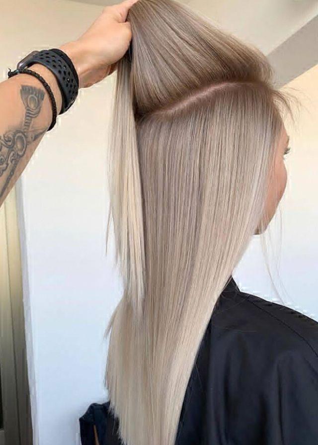 Stylish white hair style design for shoulder length hair, white hair for short b…