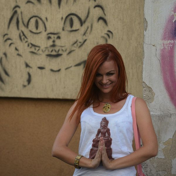 Buddha Tank by yoyoro modeled by Iulia #handprinted #t-shirts #buddha #yoyoro