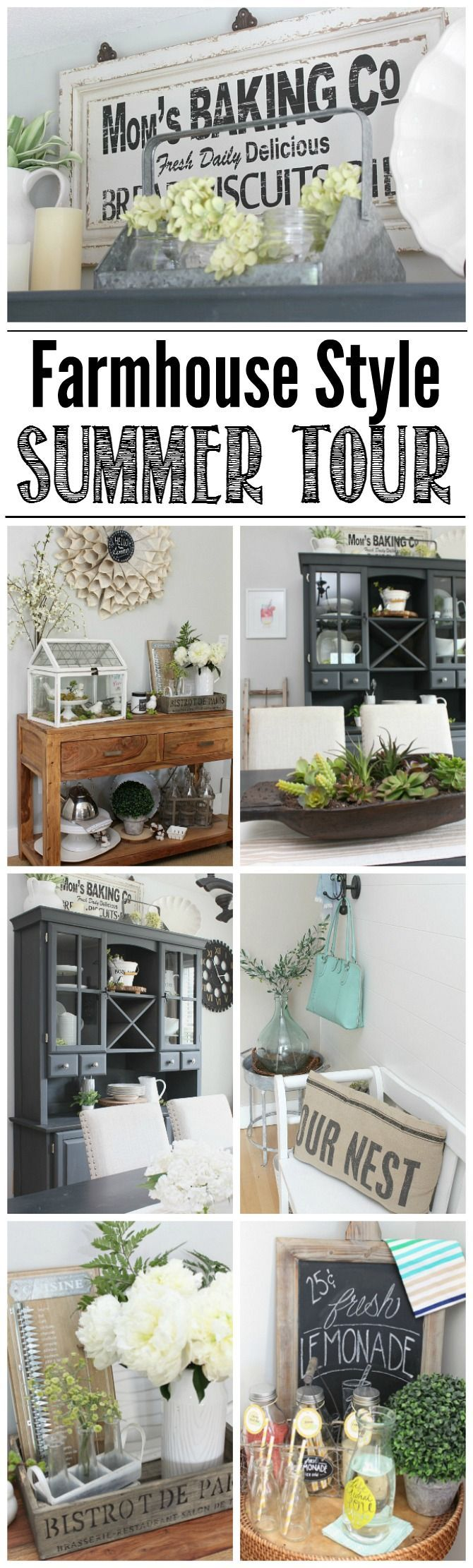 Beautiful farmhouse style summer home tour. Lots of easy decor ideas!